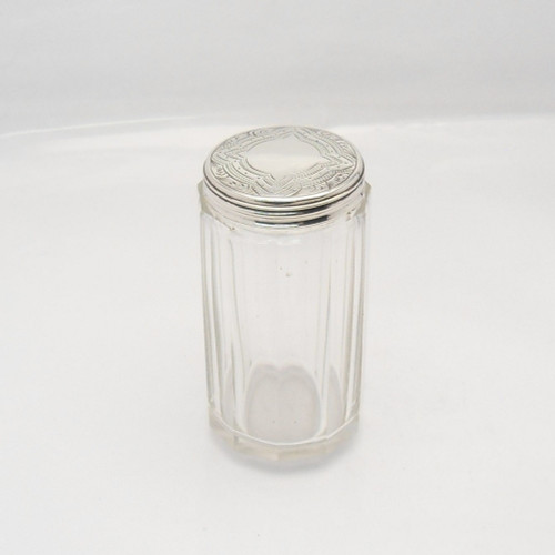 Pretty Victorian cut glass Dressing Table Jar with silver lid, hallmarked London 1877