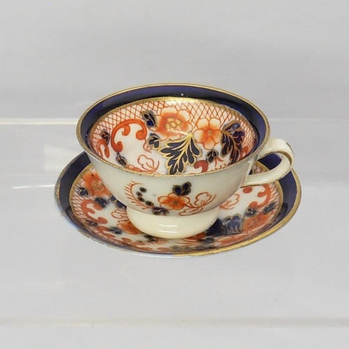 Late 19th century miniature cup and saucer Imari pattern by Fentons TA & S Green c1880