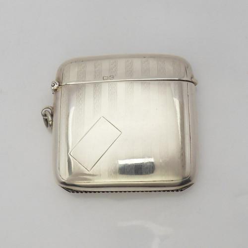Fine Silver Vesta Case  hallmarked Birmingham 1928 by E.J Trevitt & Sons