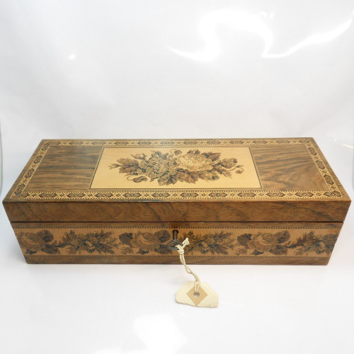 Victorian Tunbridgeware lockable Glove Box with key beautifully decorated with roses. Paper lined interior.
