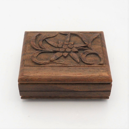 Vintage carved Black Forest Stamp Box with Edelweiss decoration to lid