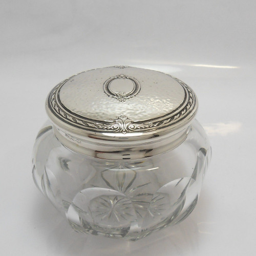 Gorgeous vintage heavy glass Powder Bowl with planished silver lid marked 'Sterling'