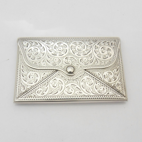 Superb envelope form  silver card case with beautiful engraving and vacant shield cartouche hallmarked Birmingham 1916 by  Adie & Lovekin Ltd
