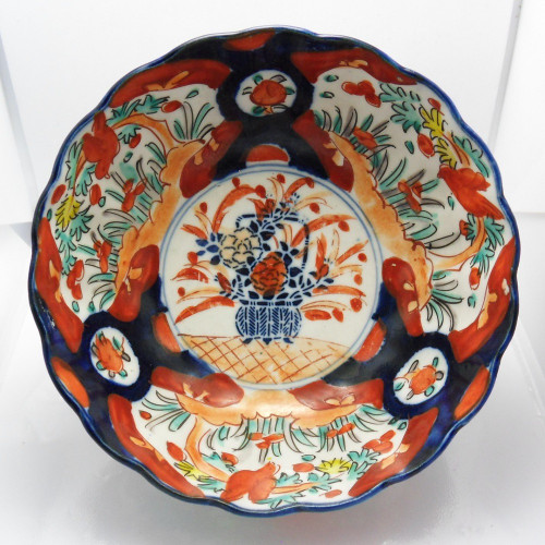 Japanese Meiji period Imari palette basket of flowers design bowl c1885