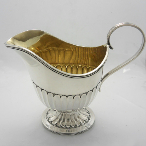 Victorian silver helmet shaped cream jug Sheffield 1893 by Martin, Hall & Co .