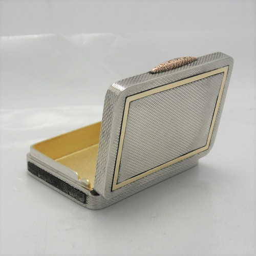 Unusual stylish silver Vesta Case in box form hallmarked London 1935