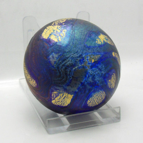 Iridescent 'Isle of Wight' glass golden peacock paperweight c1987-98