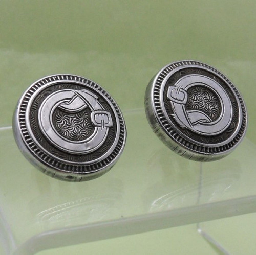 Victorian swivel fitting Cufflinks with belt &  buckle design marked RI-Climax Jeffery's patent