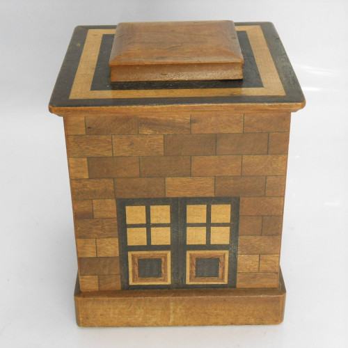 Vintage marquetry 'House' Puzzle Box - 3 movements  c. 1930