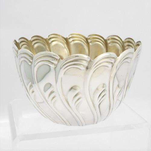 Unusual Victorian silver Wrythen Design Bowl hallmarked London 1888 by John Aldwinckle & Thomas Slater