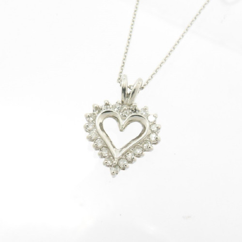 "Modern platinum heart shaped diamond set pendant with new platinum 18"" chain"