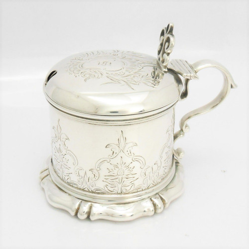 Superior, Victorian silver Mustard Pot with ornate bright engraved decoration  hallmarked London 1840 by  Charles Fox II