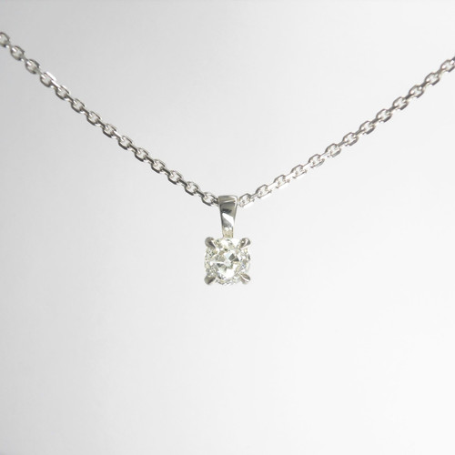 """Stunning antique old european cut diamond (0.88ct) mounted in modern 18ct white gold on 18"""" 18ct white gold chain"""