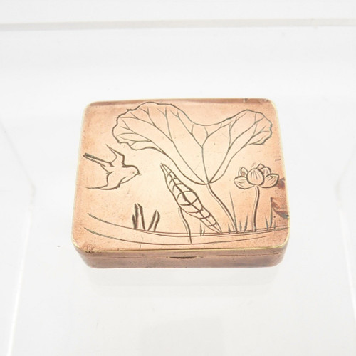 Antique copper plated brass box /stamp case engraved with birds & flowers