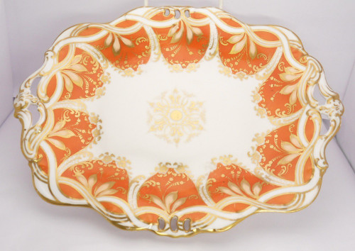 19th Century orange and gilt footed dish by Davenport
