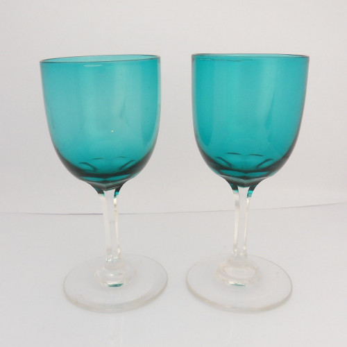 Pair of Edwardian green bowl Wine Glasses with faceted stems