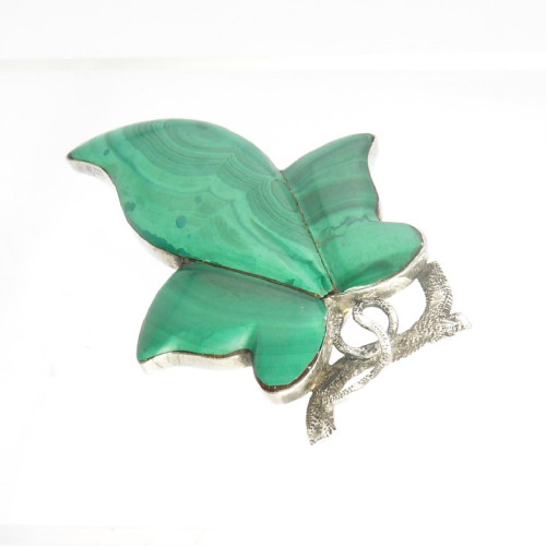 Antique Victorian white metal Ivy leaf Brooch set with green  malachite