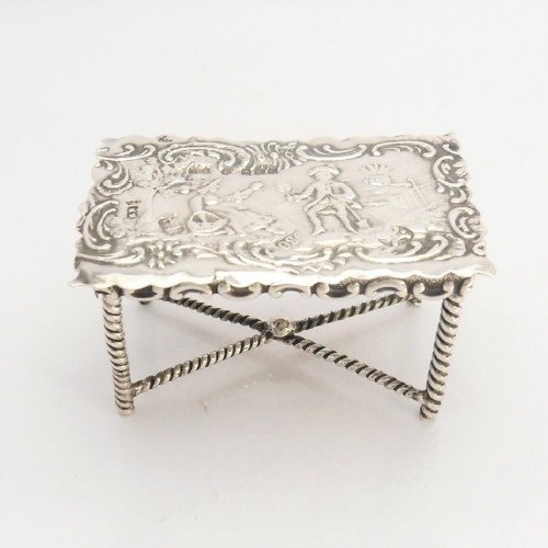 Ornate miniature continental silver Table with import hallmarks for Sheffield 1897