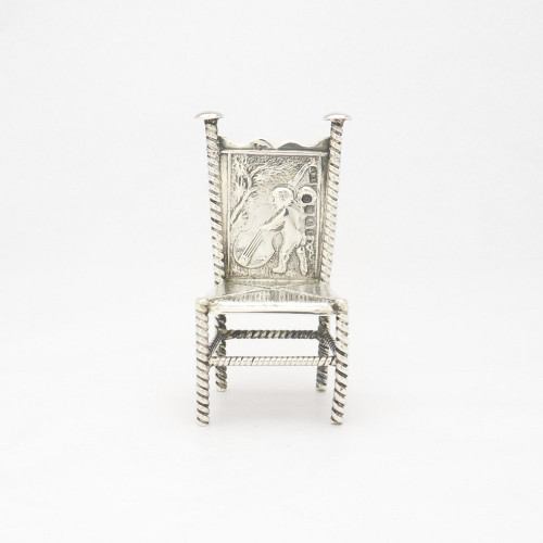 Ornate miniature continental Silver Chair with Cello player Import hallmarks for Sheffield 1895