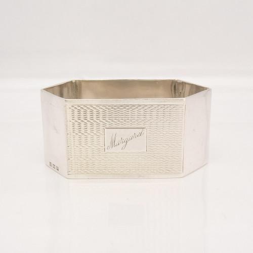Vintage hexagonal silver napkin ring hallmarked Birmingham 1955 Harman Brothers engraved 'Margaret'