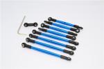 GPM Complete Blue Aluminum Tie Rod & Pushrod Set for 1/16 E-Revo & Summit