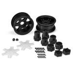 """JConcepts Dragon 2.6"""" Mega Truck Black Wheels w/Adapters & Discs"""