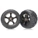 Traxxas Rear Anaconda Tire & Black Chrome Tracer Wheel Set (2): Bandit