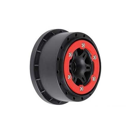 "Pro-Line Split Six 2.2""/3.0"" Red/Black Bead-Loc Wheels(2): Front Slash 2WD"