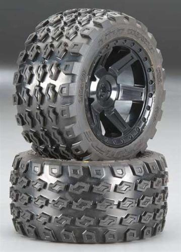 "Pro-Line Rear Dirt Hawg 2.8"" Tires on Desperado Black Wheels"