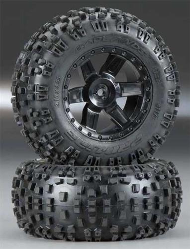 Pro-Line Rear Badlands 2.8 Tires & Desperado Wheels: Rustler & Stampede
