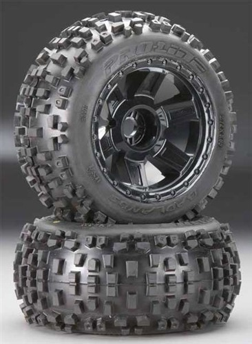 "Pro-Line Badlands 3.8"" Traxxas Tires Mounted on Desperado 1/2"" Offset Wheels (17mm hex)"