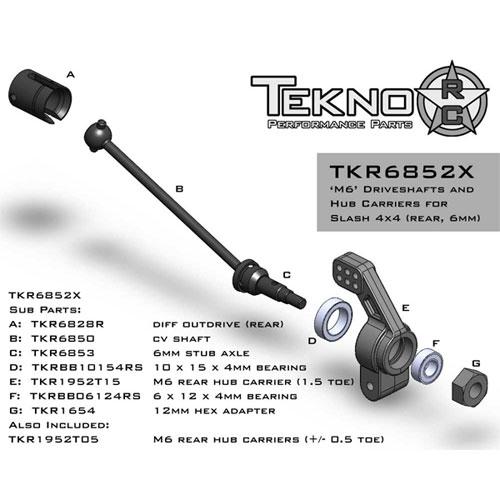 Tekno RC M6 Rear Driveshafts, Hubs, Stub Axles for Slash & Stampede 4x4