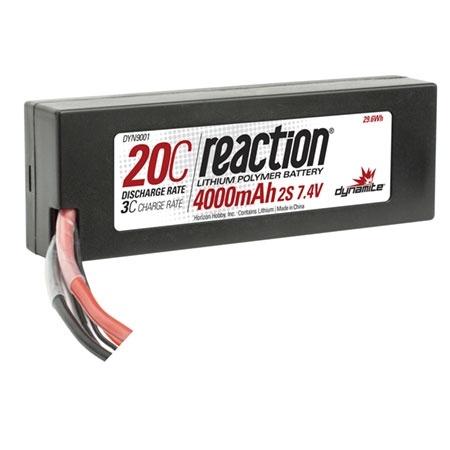 Dynamite Reaction 7.4V 4000mAh 2S 20C LiPo Hard Case Battery w/EC3