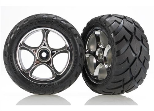 Traxxas Bandit Rear Anaconda Tire & Chrome Tracer Wheel Set