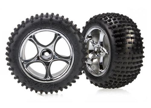 Traxxas Bandit Rear Alias Tires Mounted on Tracer Chrome Wheels