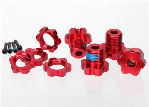 Traxxas 17mm Splined Red Aluminum Wheel Hubs, Nuts & Screw Pins (4)