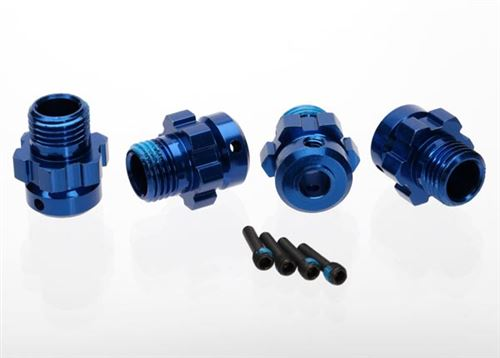 Traxxas Wheel hub, splined, 17mm, 6061-T6 aluminum (blue-anodized) (4)/ screw pin, 4x13mm (with threadlock) (4) (for 6mm axles)