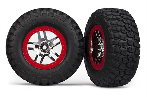 Traxxas Tires & wheels, assembled, glued (S1 ultra-soft, off-road racing compound) (SCT Split-Spoke chrome, red beadlock style wheels, BFGoodrich® Mud-Terrain�  T/A® KM2 tires, foam inserts) (2) (4WD f/r, 2WD rear)