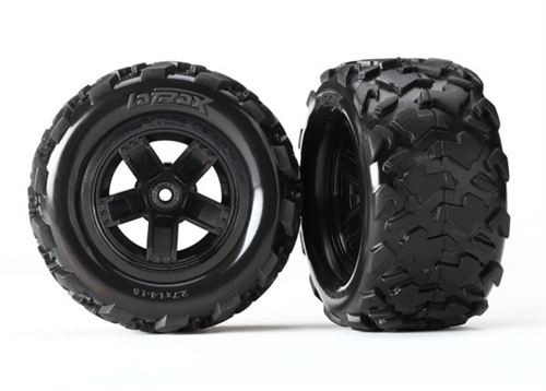 Traxxas Tires & wheels, assembled, glued (Teton 5-spoke wheels, Teton tires) (2)