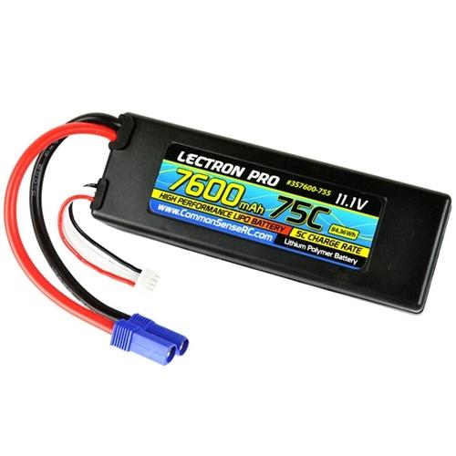 Lectron Pro 11.1V 3S 7600mAh 75C Lipo Battery EC5 Plug
