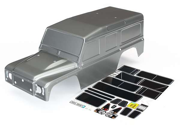 Traxxas TRX-4 Graphite Silver Land Rover Defender Painted Body w/Decals