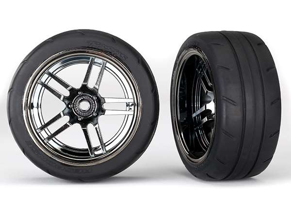 Traxxas 4-Tec 2.0 Extra Wide Rear Response 1.9 Tires on Black Chrome Wheels (2)