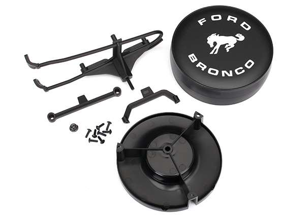 Traxxas TRX-4 Ford Bronco Spare Tire Mount, Bracket, Tire Cover & Hardware