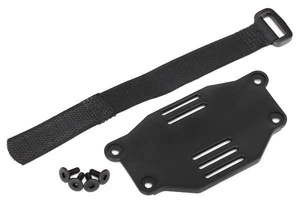 Traxxas TRX-4 Ford Bronco Battery Plate, Strap & 3x8 Flathead Screws (4) (requires #8072 inner fenders)