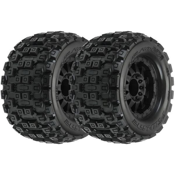 """Pro-Line Badlands MX38 3.8 on F-11 1/2"""" Offset 17mm Hex Wheels (2)"""