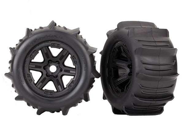 Traxxas E-Revo 2 Paddle Tires Mounted on Black 3.8 Wheels (2)