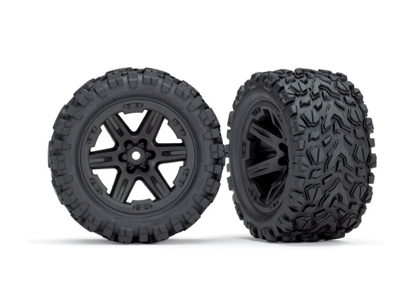 Traxxas Rustler 4x4 Talon EXT Tires Mounted on Black 2.8 Wheels (2)