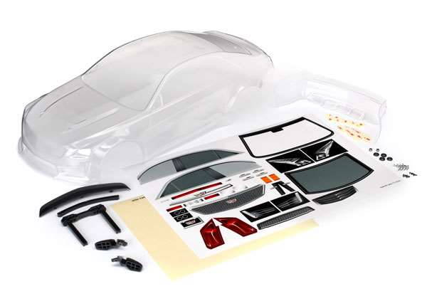 Traxxas Cadillac CTS-V Clear Body w/Mirrors, Spoiler, HW & Decals for 4-Tec 2.0