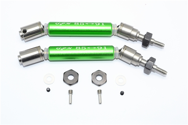 GPM Green Stainless Steel & Aluminum Front CVD Driveshaft Set w/Hex for 4x4 Slash Rustler Stampede Rally