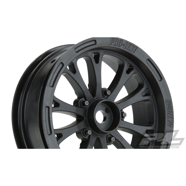 "Pro-Line Pomona Drag Spec 2.2"" Black Front Wheels for Slash 2WD"